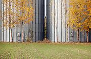 agricultural grain silos during autumn season France Languedoc