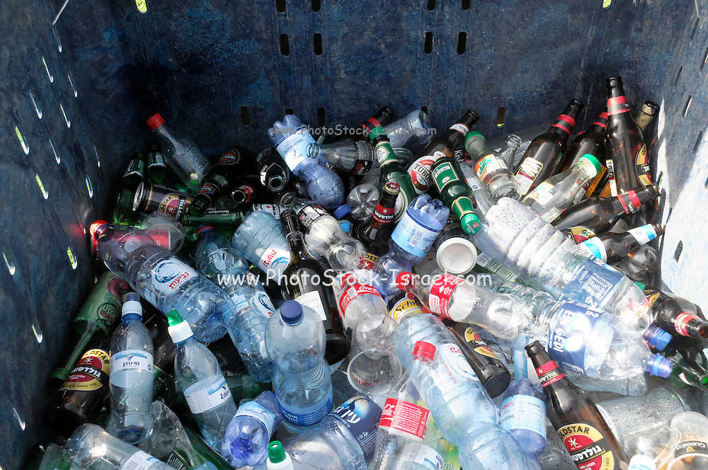 Glass and plastic bottles recycling bin