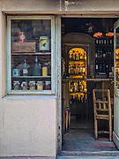 Stylizowana witryna kawiarnii, ulica Szeroka w Krakowie.<br /> Stylized cafe site, Szeroka Street in Krakow.