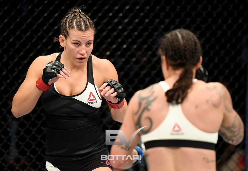 NEW YORK, NY - NOVEMBER 12:  Miesha Tate of the United States (left) fights against Raquel Pennington of the United States in their women's bantamweight bout during the UFC 205 event at Madison Square Garden on November 12, 2016 in New York City.  (Photo by Jeff Bottari/Zuffa LLC/Zuffa LLC via Getty Images)