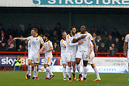 Cambridge United forward Uche Ikpeazu (26) celebrates his goal 2-1 during the EFL Sky Bet League 2 match between Crawley Town and Cambridge United at the Checkatrade.com Stadium, Crawley, England on 12 November 2016. Photo by Andy Walter.
