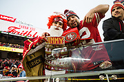 San Francisco 49ers fans celebrate a win over the Jacksonville Jaguars at Levi's Stadium in Santa Clara, Calif., on December 24, 2017. (Stan Olszewski/Special to S.F. Examiner)