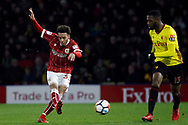 Freddie Hinds of Bristol City (L) takes a shot at goal. The Emirates FA Cup, 3rd round match, Watford v Bristol City  at Vicarage Road in Watford, London on Saturday 6th January 2018.<br /> pic by Steffan Bowen, Andrew Orchard sports photography.