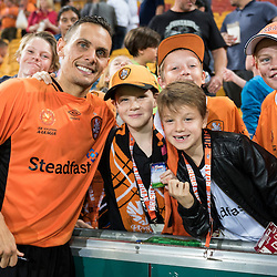 BRISBANE, AUSTRALIA - OCTOBER 7: Jade North of the Roar poses for a photo with fans during the round 1 Hyundai A-League match between the Brisbane Roar and Melbourne Victory at Suncorp Stadium on October 7, 2016 in Brisbane, Australia. (Photo by Patrick Kearney/Brisbane Roar)