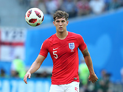 July 14, 2018 - St. Petersburg, Russia - July 14, 2018, St. Petersburg, FIFA World Cup 2018, Football match for the third place in the World Cup. Football match of Belgium - England at the stadium of St. Petersburg. Player of the national team John Stones  (Credit Image: © Russian Look via ZUMA Wire)