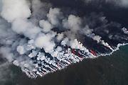 Lava Flowing into Ocean, Kilauea Volcano, Island of Hawaii, Hawaii