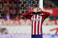 Atletico de Madrid´s Antoine Griezmann reacts after missing a goal chance during 2015-16 La Liga match between Atletico de Madrid and Deportivo de la Coruna at Vicente Calderon stadium in Madrid, Spain. March 12, 2016. (ALTERPHOTOS/Victor Blanco)