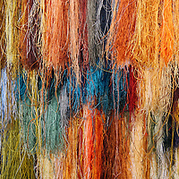 Asia, China, Suzhou. Hanging selection fo silk threads used in Chinese embroidery.