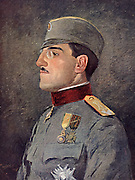 Prince Alexander of Serbia c1916. Appointed Regent of  Serbia in 1916, during the First World War he was supreme commander of the Serbain Army. As Alexander I of Yugoslavia (1888-1934) also called King Alexander Unificator, he became king of Serbia, Croatia and Slovenia (1921-1929) and king of Yugoslavia (1929-1934).   While in Marseilles in 1934 on a state visit to France he was assassinated by a Macdonian terrorist in the pay of Croatia.