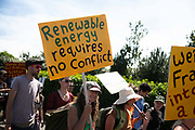 The event which lasted 54 hours is over and people pack up and leave in New Preston Road, Lancashire, United Kingdom, June 29th 2018.  Block Around the Clock - a fourty eight hours of event with work shops, yoga, sleeping and anti-fracking campaigning in front of the gates to Cuadrillas fracking site in Lancashire. The event was organised by anti-fracking campaigners in spite of an injunction granted to Cuadrilla to prevent protest against the impending shale gas exploitation. The Cuadrilla site in Lancashire in a highly contested site, almost ready to drill for gas.