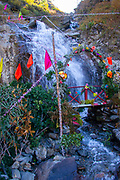 Prayer flags and shrine in the High Altitude and remote Himalayan Landscape, Himalayas, Himachal Pradesh, India