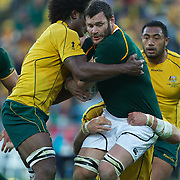 Danie Rossouw, South Africa, is tackled by Radike Samo, Australia, during the South Africa V Australia Quarter Final match at the IRB Rugby World Cup tournament. Wellington Regional Stadium, Wellington, New Zealand, 9th October 2011. Photo Tim Clayton...