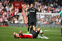 Football - 2017 / 2018 Premier League - Southampton vs. West Ham United<br /> <br /> Marko Arnautovic of West Ham United protests his innocence after getting a straight red card for fouling Southampton's Jack Stephens at St Mary's Stadium Southampton<br /> <br /> COLORSPORT/SHAUN BOGGUST