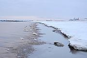 Het Zuiderstrand in Den Haag tijdens de winter.    Southbeach, The Hague, during wintertime.