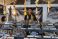 Christmas Market, stall-holder, street vendor, marina, Puerto Banus, Malaga Province, Spain, December, 2018, 201812100146<br />