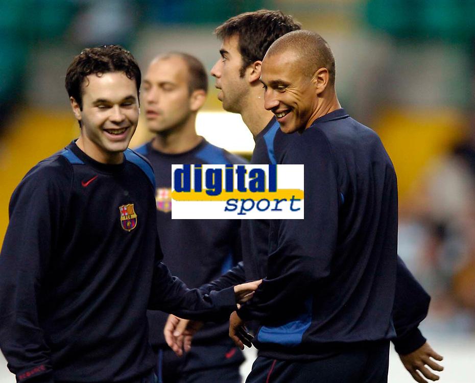 Photo. Jed Wee.Digitalsport<br /> Glasgow Celtic v FC Barcelona, UEFA Champions League, 14/09/2004.<br /> Moving on, Celtic legend Henrik Larsson (R) returns to Celtic Park very much a fixture in the Barcelona team