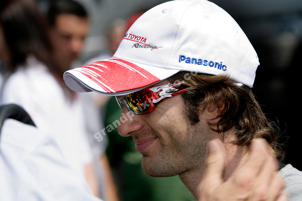 Toyota driver Jarno Trulli before Friday practice for the 2006 French Grand Prix at Magny-Cours. Photo: Grand Prix Photo