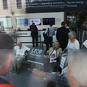 """A group of grandparents and elders have chained themselves together in a government department building in Westminster to urge the government to oppose """"dangerous"""" fracking June 13th 2018, Central London, United Kingdom.<br /> <br /> Aged between 63 and 82, the 10-strong group from the South West - Grandparents for a Safe Earth (GFASE) - have occupied the Westminster building to demand that the Secretary of State for the Department for Business, Energy and Industrial Strategy Greg Clark refuse permission for fracking."""
