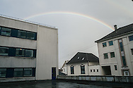 A rainbow over Nader and Omar's apartment complex in Bergen, Norway's second city.