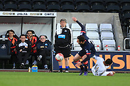 Newcastle Utd u21 manager Peter Beardsley (c) looks on. U21 Barclays Premier league match, Swansea city U21's  v Newcastle Utd U21's at the Liberty Stadium in Swansea, South Wales on Monday 4th April 2016.<br /> pic by Andrew Orchard, Andrew Orchard sports photography.
