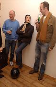 Max Friedman, Honey Luard and Johnnie Shand Kidd, Opening of Carl Freidman's Counter Editions, Charlotte Rd. 11 March 2003. © Copyright Photograph by Dafydd Jones 66 Stockwell Park Rd. London SW9 0DA Tel 020 7733 0108 www.dafjones.com
