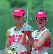 Lucerne, Switzerland. 1995 FISA WC III, Lake Rotsee, Lucerne,<br /> CAN W2X, bow. Marnie MCBEAN and Kathleen HEDDLE.<br /> [Mandatory Credit. Peter SPURRIER/Intersport Images]<br /> <br /> Image scanned from Colour Negative