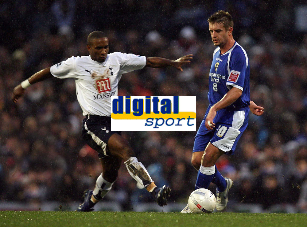 Photo: Rich Eaton.<br /> <br /> Cardiff City v Tottenham Hotspur. The FA Cup. 07/01/2007. Jermain Defoe left of Spurs stretches to reach the ball ahead of Stephen McPhail of Cardiff