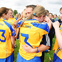 31 August 2008; Waterford senior hurling manager and trainer of Clare camogie team Davy Fitzgerald consoles Kate Lynch, Clare, at the end of the game. All-Ireland Minor A Championship Final, Clare v Kilkenny, Geraldine Park, Athy, Co. Kildare. Picture credit: Paul Mohan / SPORTSFILE *** NO REPRODUCTION FEE ***