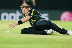 © Licensed to London News Pictures. 05/10/2012. Australian Shane Watson dives to field the ball during the World T20 Cricket Mens Semi Final match between Australia Vs West Indies at the R Premadasa International Cricket Stadium, Colombo. Photo credit : Asanka Brendon Ratnayake/LNP
