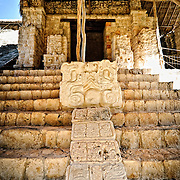 Intricate carvings at the ancient Mayan ruins at Ek'Balam, near Valladolid, Yucatan, Mexico