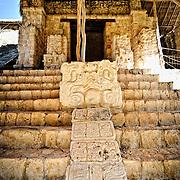 Intricate carvings at the ancient Mayan ruins at Ek'Balam, near Valladolid, Yucatan, Mexico