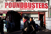 Poundbusters bargain shop on Whitechapel High Street in the East End of London. Everything in this shop is priced at one pound or below. This is a culturally diverse part of London with people of many ethnic groups living here.