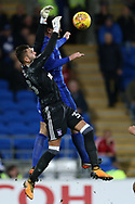 Ipswich Town goalkeeper Bartosz Bialkowski makes a save from Sean Morrison of Cardiff city. EFL Skybet championship match, Cardiff city v Ipswich Town at the Cardiff city stadium in Cardiff, South Wales on Tuesday 31st October 2017.<br /> pic by Andrew Orchard, Andrew Orchard sports photography.