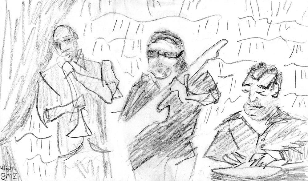 "Three Musicians – 5.5""x8.5"", Graphite on paper, 2011"