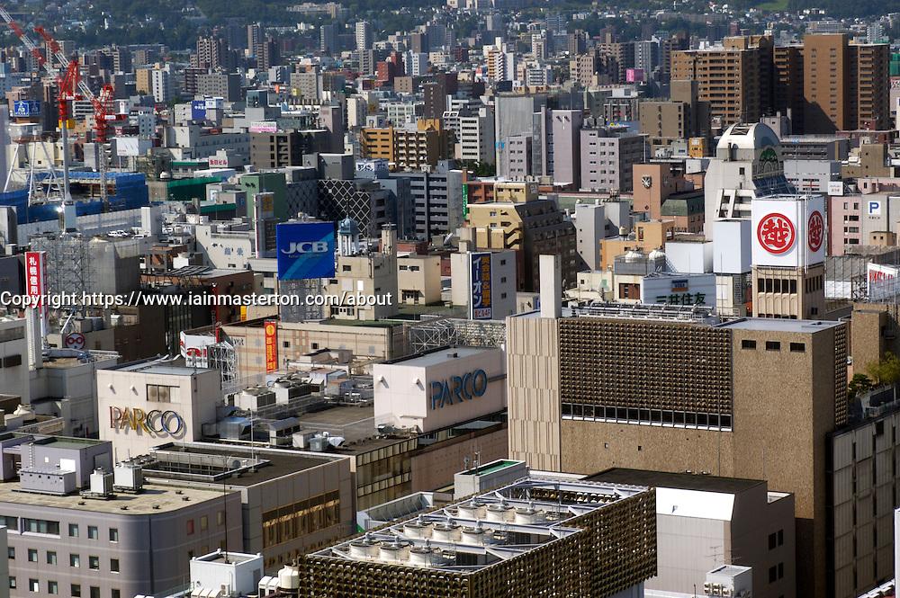 Cityscape of city of Sapporo on Hokkaido Island in Japan