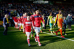 Bailey Wright of Bristol City leads Bristol City onto the pitch - Mandatory by-line: Phil Chaplin/JMP - FOOTBALL - Carrow Road - Norwich, England - Norwich City v Bristol City - Sky Bet Championship