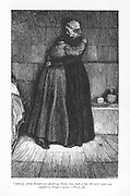 Hetty Sorrel, sentenced to death for infanticide, comforted in prison by her Methodist preacher cousin, Dinah Morris. Hetty's sentence is commuted to transportation through the intervention of her seducer Arthur Donnithorne.  'Adam Bede' by George Eliot, first published 1859. Illustration by William Small (1843-1929) from an edition published c1885.