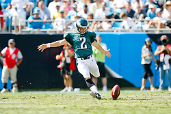 Philadelphia Eagles PK David Akers #2 kicks off during the NFL game between the Philadelphia Eagles and the Carolina Panthers on September 13th 2009. The Eagles won 38-10 at Bank of America Stadium in Charlotte, North Carolina.  (Photo By Brian Garfinkel)