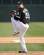 GLENDALE, ARIZONA - MARCH 04:  Evan Marshall #55 of the Chicago White Sox pitches against the Los Angeles Angels on March 4, 2019 at Camelback Ranch in Glendale Arizona.  (Photo by Ron Vesely)  Subject:  Evan Marshall