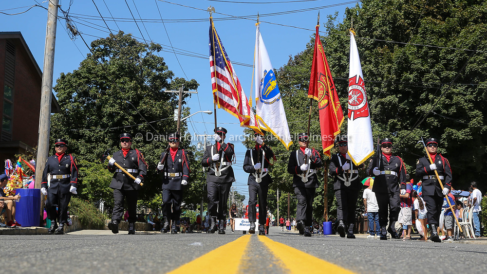(9/3/18, MARLBOROUGH, MA) The Marlborough Fire Department color guard marches during the annual Labor Day Parade along Broad St. in Marlborough on Monday. [Daily News and Wicked Local Photo/Dan Holmes]