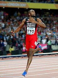 LONDON, Aug. 14, 2017  Lalonde Gordon of Team Trinidad and Tobago sprints during Men's 4X400 Relay Final on Day 10 of the 2017 IAAF World Championships at London Stadium in London, Britain, on Aug. 13, 2017. Team Trinidad and Tobago claimed the title with 2 minutes 58.12 seconds. (Credit Image: © Wang Lili/Xinhua via ZUMA Wire)