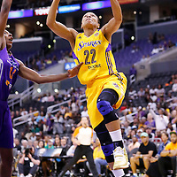 24 August 2014: Los Angeles Sparks guard/forward Armintie Herrington (22) goes for the layup during the Phoenix Mercury 93-68 victory over the Los Angeles Sparks, in a Conference Semi-Finals at the Staples Center, Los Angeles, California, USA.