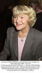 Actress DORA BRYAN at a luncheon in London on 9th February 2001.OLF 24