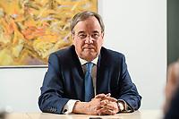 31 MAY 2021, BERLIN/GERMANY:<br /> Armin Laschet, CDU, Ministerpraesident Nordrhein-Westfalen und CDU Bundesvorsitzender, waehrend einem Interview, Landesvertretung NRW<br /> IMAGE: 20210531-01-001