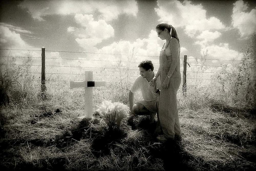 David Lee Taylor roadside memorial cross, 1998, El Campo, Texas
