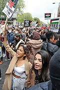 London, United Kingdom, May 15, 2021: Thousands of people gather outside the Israeli Embassy in central London, to express their solidarity with Palestinians on Saturday, May 15, 2021. This is the 3rd week of ongoing demonstrations across the United Kingdom with 25 demonstrations taking place across the country today. (Photo by Vudi Xhymshiti/VXP)