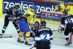 20.04.2016, Dom Sportova, Zagreb, CRO, IIHF WM, Ukraine vs Estland, Division I, Gruppe B, im Bild Lauri Lahesalu, Andrei Mikhnov, Daniil Seppenen // during the 2016 IIHF Ice Hockey World Championship, Division I, Group B, match between Ukraine and Estonia at the Dom Sportova in Zagreb, Croatia on 2016/04/20. EXPA Pictures © 2016, PhotoCredit: EXPA/ Pixsell/ Goran Stanzl<br /> <br /> *****ATTENTION - for AUT, SLO, SUI, SWE, ITA, FRA only*****