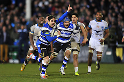 Horacio Agulla of Bath Rugby celebrates running in his bonus point winning try - Photo mandatory by-line: Patrick Khachfe/JMP - Mobile: 07966 386802 12/12/2014 - SPORT - RUGBY UNION - Bath - The Recreation Ground - Bath Rugby v Montpellier - European Rugby Champions Cup