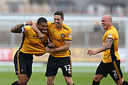 Joss Labadie of Newport county (l) celebrates with teammates David Pipe ® and Ben Tozer (c) after he scores his teams 2nd goal. EFL Skybet football league two match, Newport county v Yeovil Town at Rodney Parade in Newport, South Wales on Saturday 7th October 2017.<br /> pic by Andrew Orchard,  Andrew Orchard sports photography.