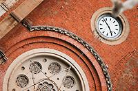 Close up detail of beautiful Notre Dame Basilica in Saigon.